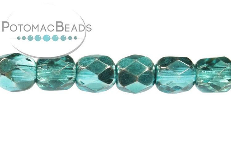 Czech Faceted Round Beads - Marine Metallic Ice 4mm