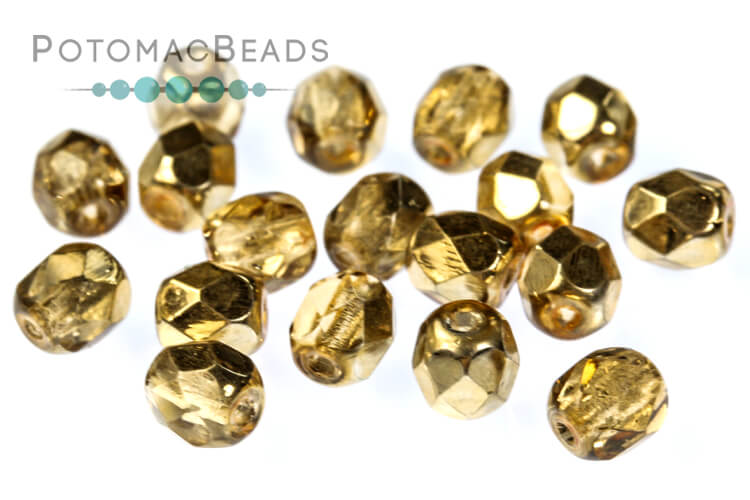 Czech Faceted Round Beads - Apricot Metallic Ice 4mm