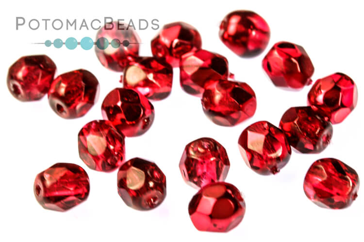 Czech Faceted Round Beads - Pomegranate Metallic Ice 4mm
