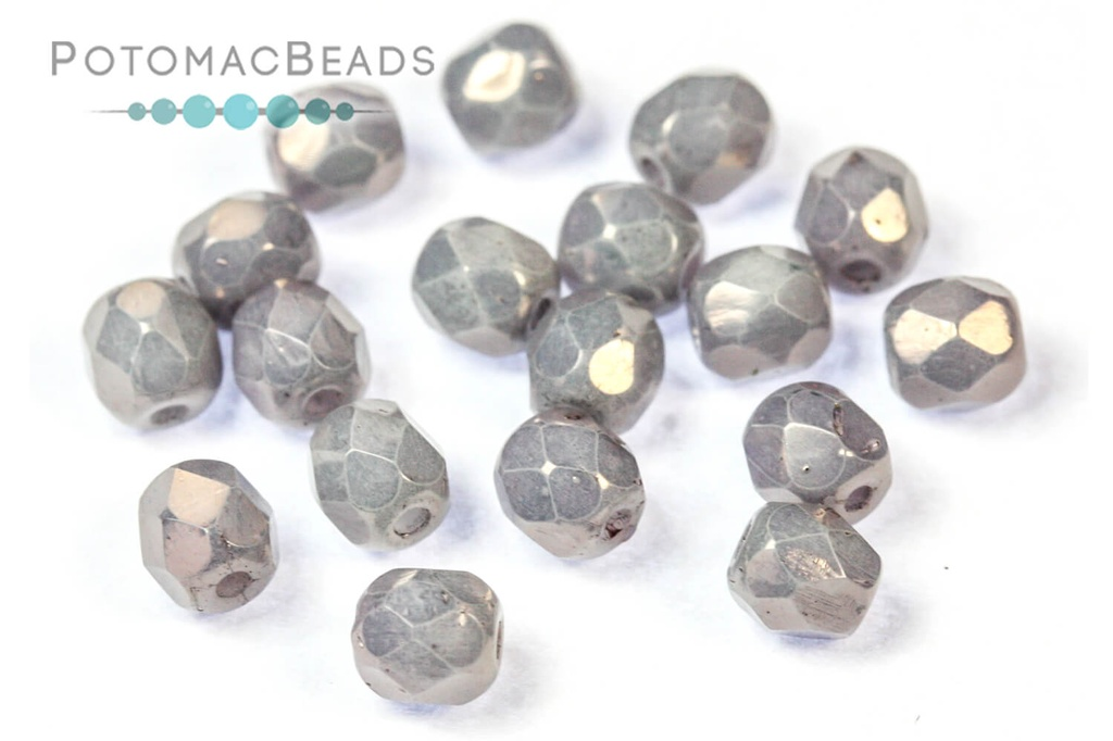 Czech Faceted Round Beads - White Copper 4mm