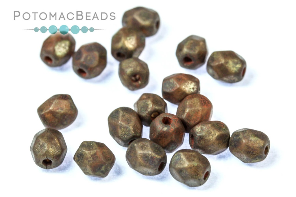 Czech Faceted Round Beads - Smoky Topaz Brown 4mm