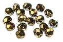 Czech Faceted Round Beads - Jet Brown Iris 4mm