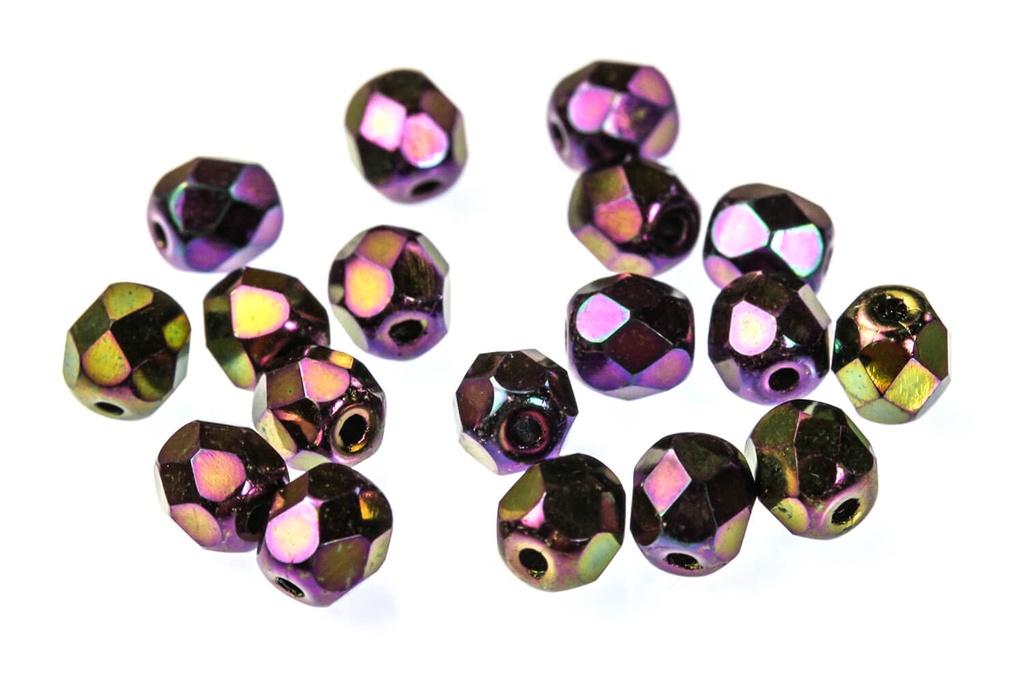 Czech Faceted Round Beads - Jet Purple Iris 4mm