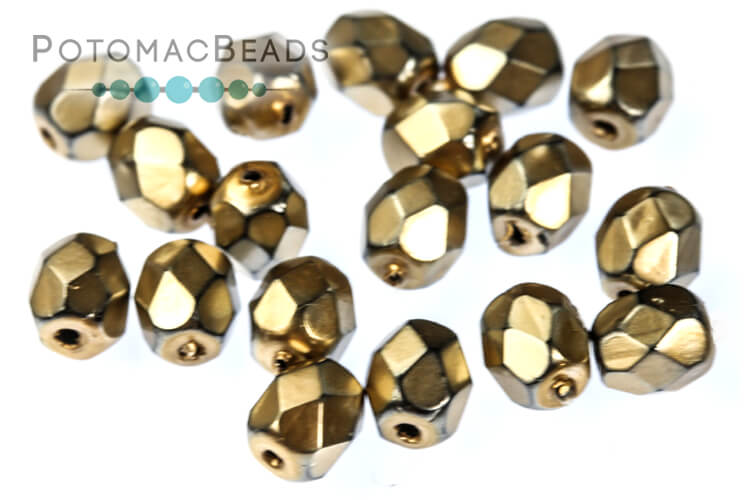 Czech Faceted Round Beads - Metal Mauve 4mm