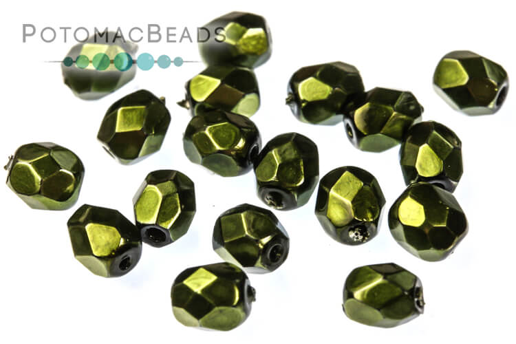 Czech Faceted Round Beads - Metal Hunter 4mm