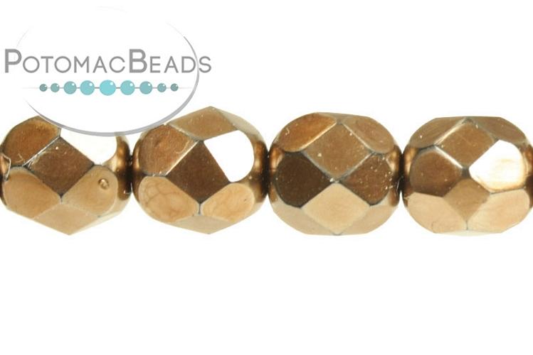 Czech Faceted Round Beads - Jet Metal Light Bronze 6mm