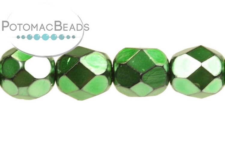 Czech Faceted Round Beads - Metal Emerald 6mm