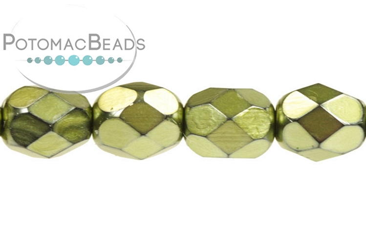 Czech Faceted Round Beads - Metal Green Apple 6mm