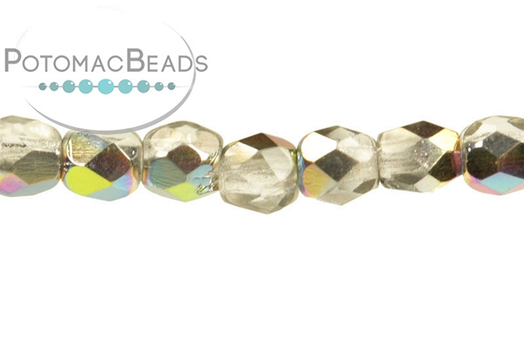 Czech Faceted Round Beads - Crystal Vitrail 3mm