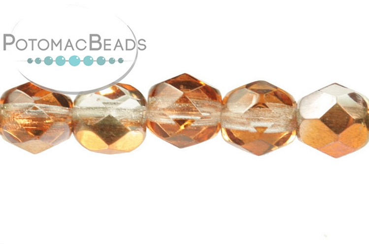 Czech Faceted Round Beads - Crystal Sunset 6mm