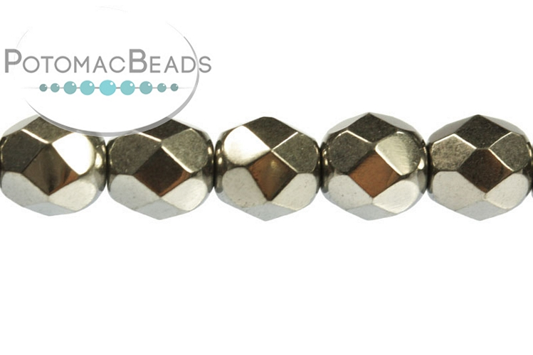 Czech Faceted Round Beads - Crystal Full Chrome 6mm