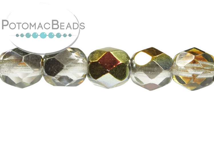 Czech Faceted Round Beads - Crystal Marea 6mm
