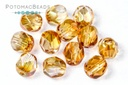 Czech Faceted Round Beads - Crystal Apricot Medium 6mm