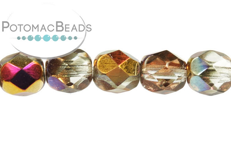 Czech Faceted Round Beads - Crystal Sliperit 6mm
