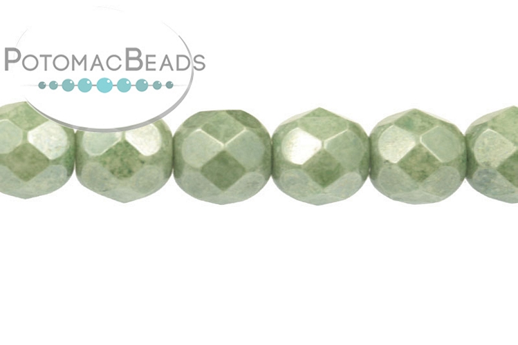 Czech Faceted Round Beads - White Teal Luster 6mm
