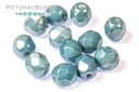 Czech Faceted Round Beads - White Baby Blue Luster 6mm