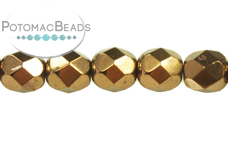 Czech Faceted Round Beads - Jet Bronze 6mm