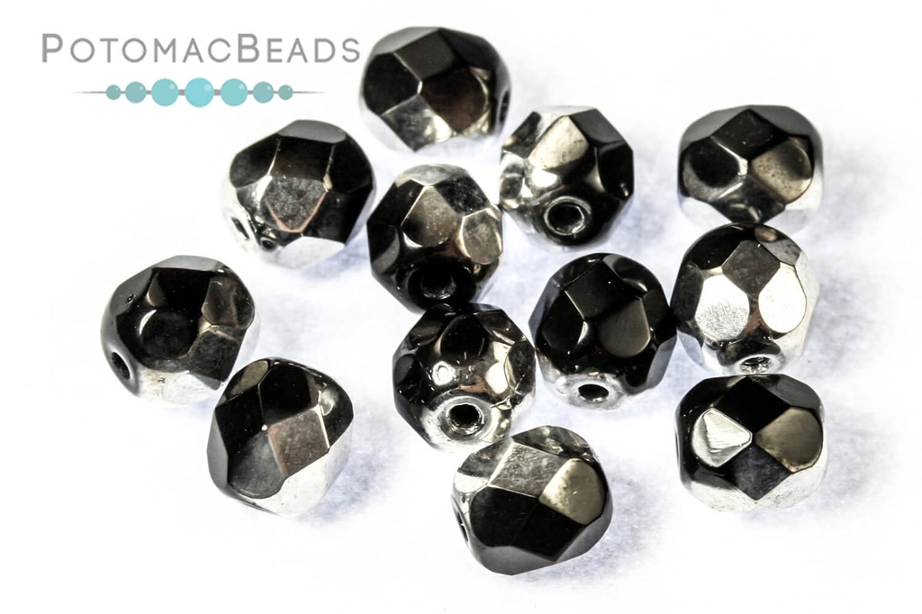 Czech Faceted Round Beads - Jet Labrador Full 6mm