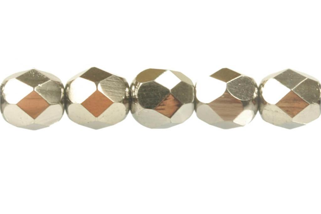 Czech Faceted Round Beads - Jet Full Chrome 6mm