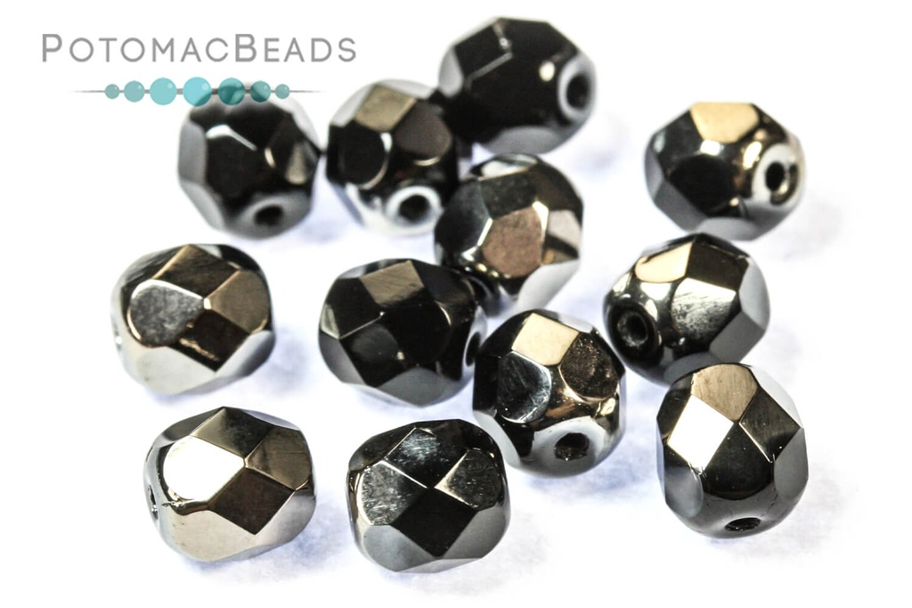 Czech Faceted Round Beads - Jet Chrome 6mm