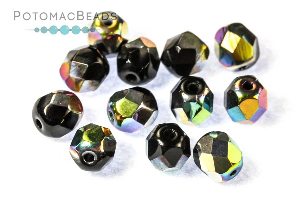 Czech Faceted Round Beads - Jet Vitrail 6mm