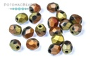 Czech Faceted Round Beads - Jet Matted California Gold Rush 4mm