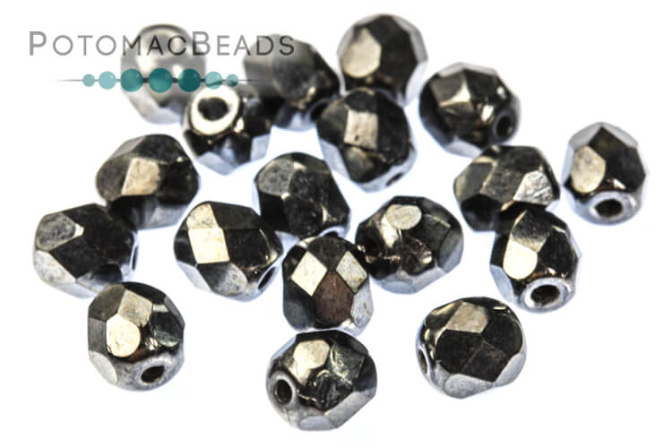 Czech Faceted Round Beads - Jet Hematite 4mm