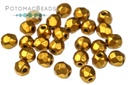 Czech Faceted Round Beads - Brass Gold 3mm