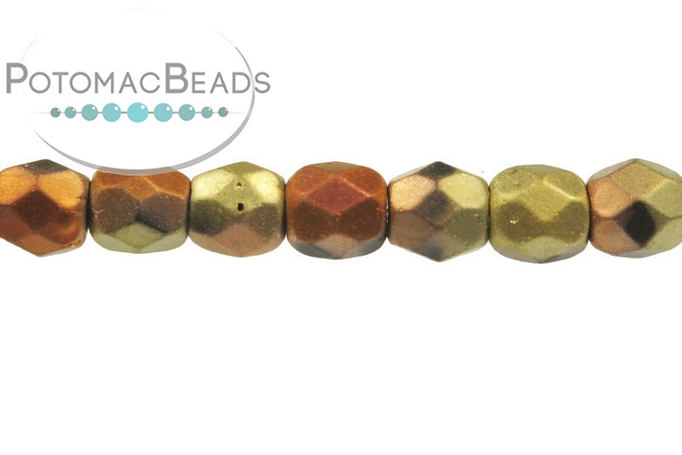 Czech Faceted Round Beads - Jet Matted California Gold Rush 3mm