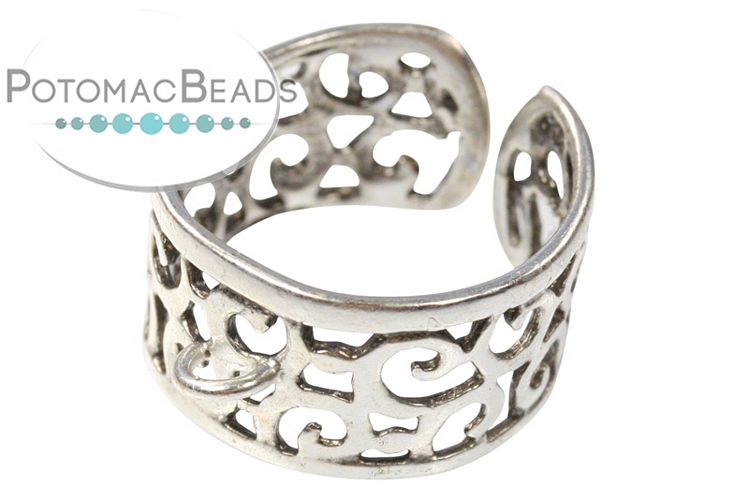 Cutout Ring with Loop Silver Plated