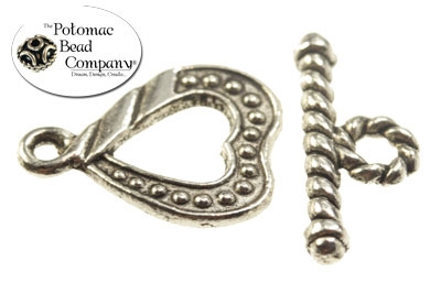 Pewter Beaded Heart Toggle Silver