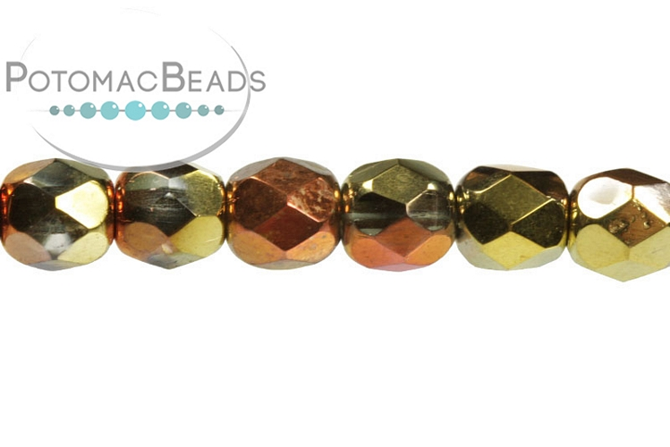Czech Faceted Round Beads - Crystal California Gold Rush 4mm