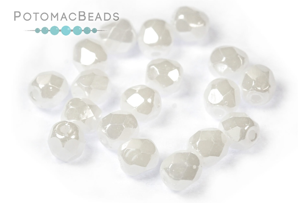 Czech Faceted Round Beads - White Shimmer 4mm