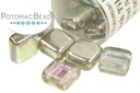 Czech 2-Hole Tile Beads - Crystal Vitrail Light (closeout)