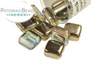 Czech 2-Hole Tile Beads - Crystal Graphite Rainbow 6mm
