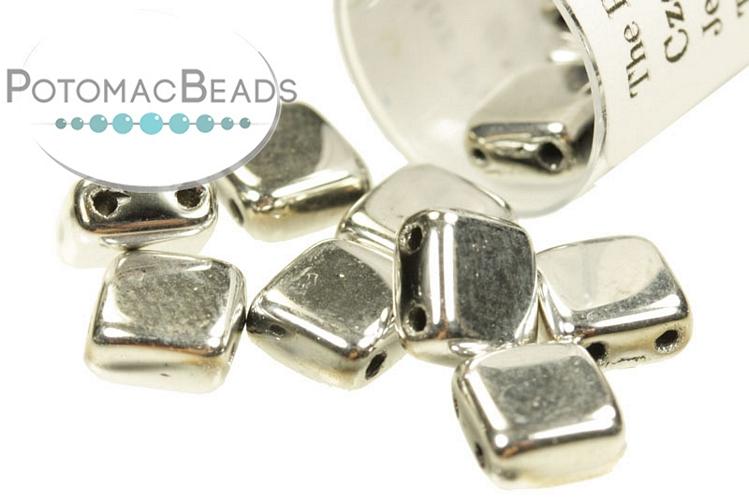 Czech 2-Hole Tile Beads - Jet Labrador Full 6mm