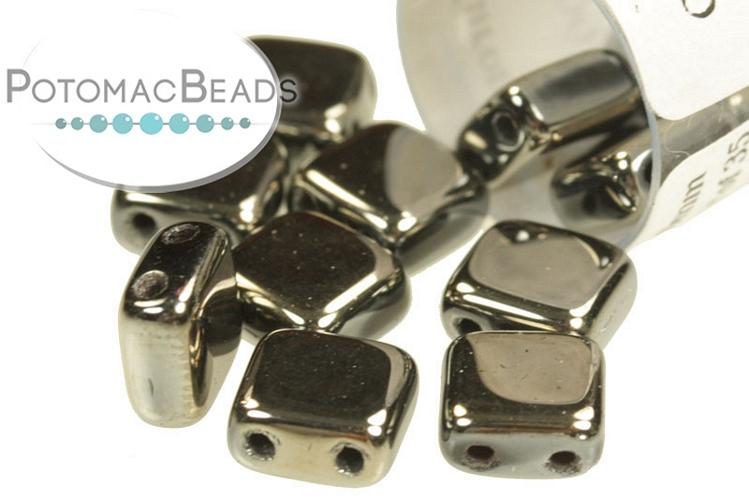 Czech 2-Hole Tile Beads - Jet Full Chrome 6mm