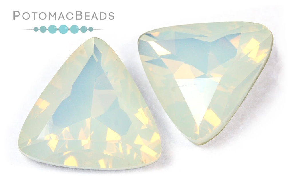 Potomac Crystal Triangles - White Opal 23mm
