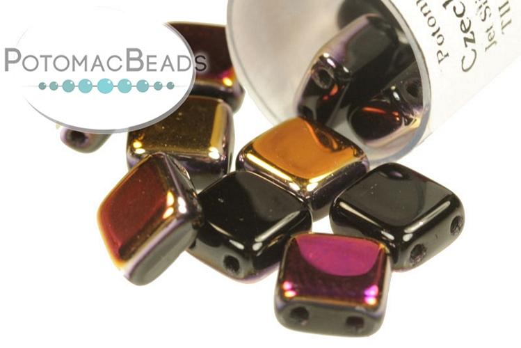 Czech 2-Hole Tile Beads - Jet Sliperit 6mm