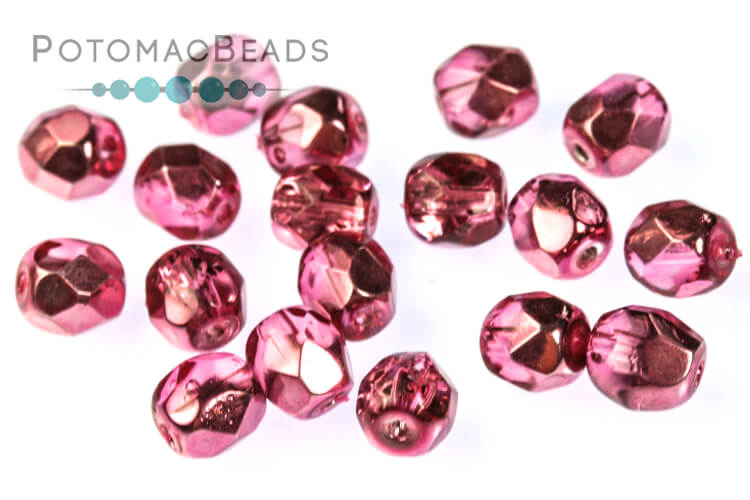 Czech Faceted Round Beads - Rose Metallic Ice 4mm