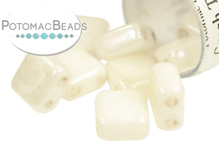 Czech 2-Hole Tile Beads - Alabaster Shimmer 6mm