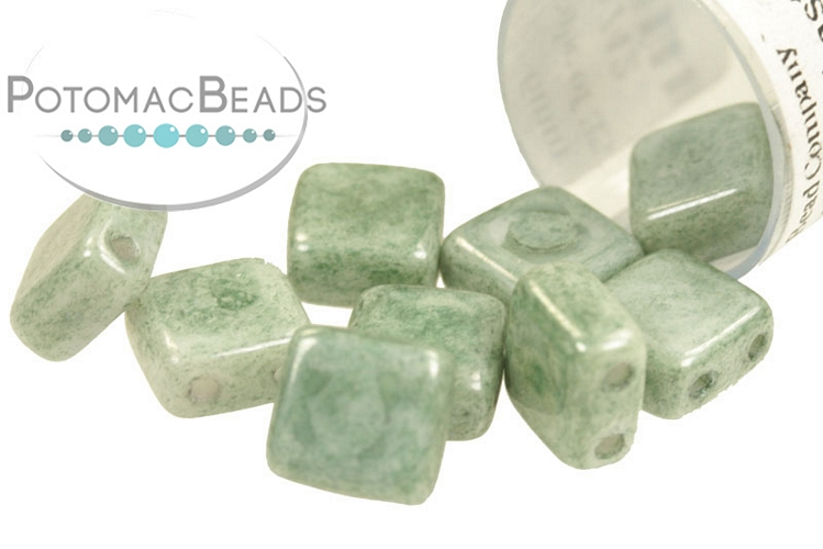 Czech 2-Hole Tile Beads - Alabaster Teal Luster 6mm