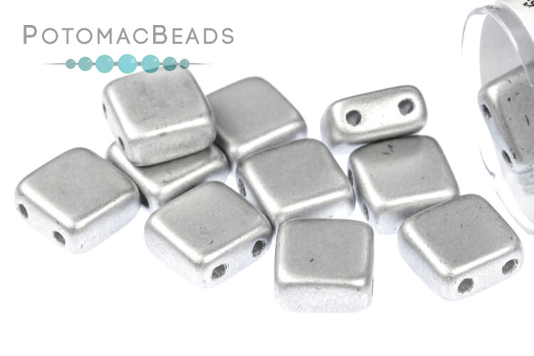 Czech 2-Hole Tile Beads - Metallic Silver