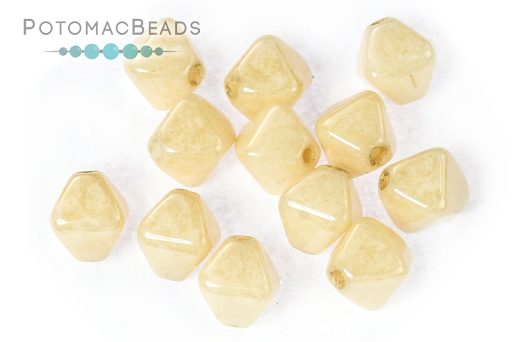 Czech Pressed Bicone Beads - White Champagne Luster 4mm