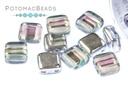 Czech 2-Hole Tile Beads - Crystal Silver Rainbow