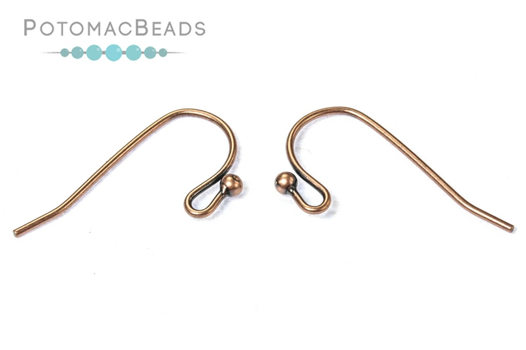 Earwires - Simple Ball 20x10.5mm 21G Premium Antique Copper Plated Brass