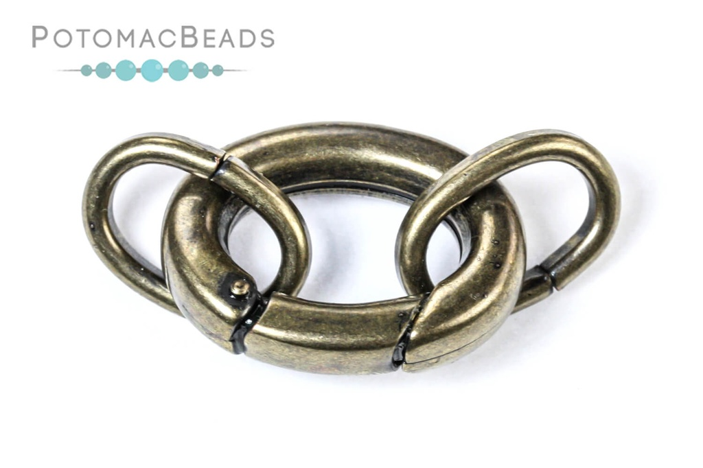 Clasp - Large Oval Spring Clasp with Rings Premium Antique Brass Plated Stainless Steel