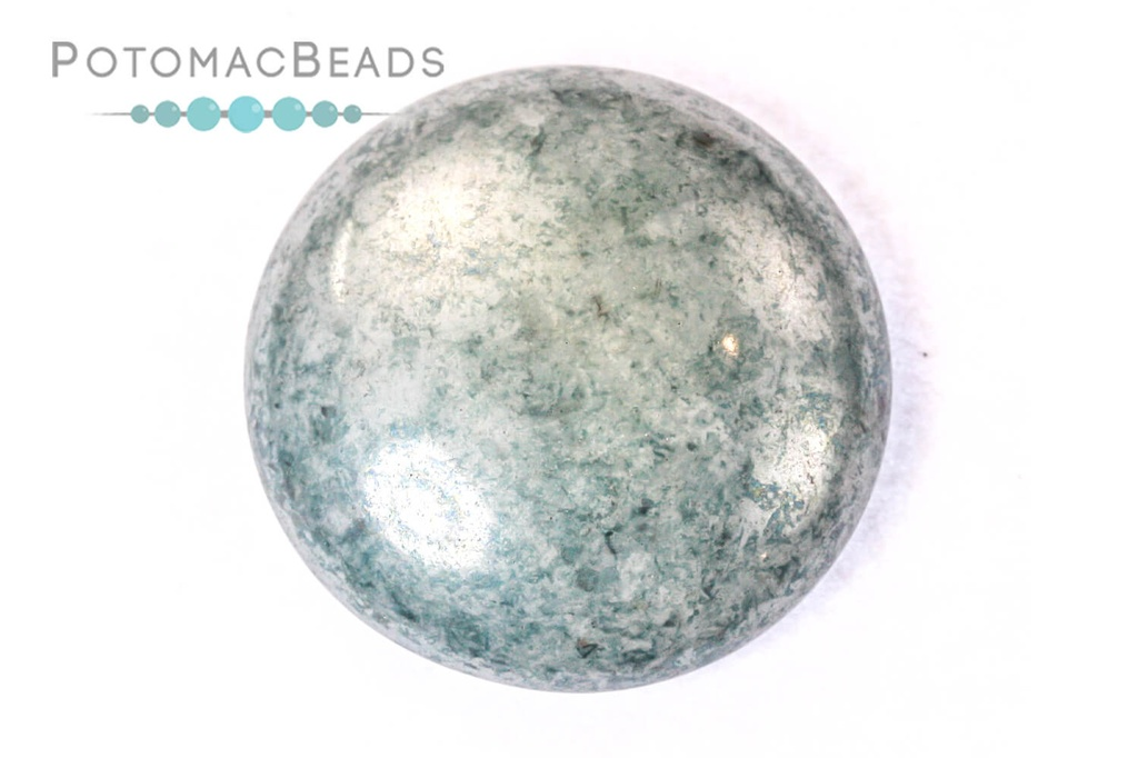 Cabochon Par Puca - White Baby Blue Luster (Opaque Blue Ceramic Look) 25mm