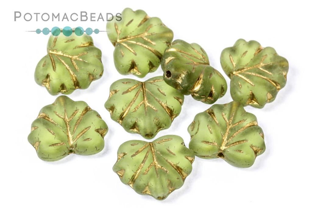 Czech Maple Leaf Beads - Olive Green Gold Wash