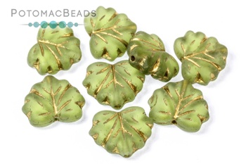 [184028] Czech Maple Leaf Beads - Olive Green Gold Wash